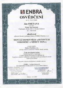 Certifikát Enbra