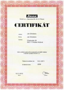 Certifikát RAVAK
