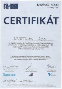 Certifikát Sanitec