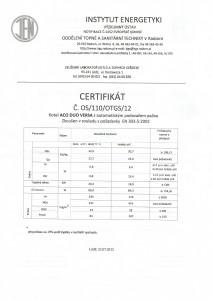 Certifikát kotle Tekla Aco duo