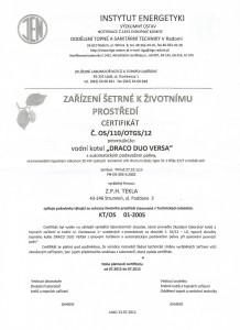 Certifikát kotle Tekla Draco duo