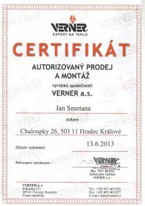 Certifikát Verner